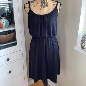 LOFT Black knit dress with twisted straps